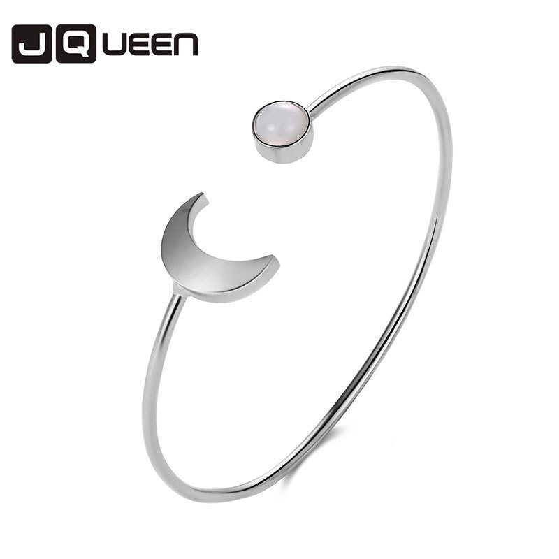 New Alloy Gold Silver Black Geometric Open Bracelet &bangle Three-colour Fashion Moon Round Bracelet Women Concise Jewelry