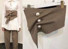 Chic vintage pearls plaid Cummerbunds Fashion womens irregular waistband betl D493