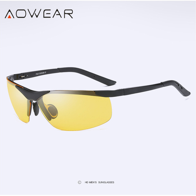 1f35f17ea9 AOWEAR Quality HD Night Vision Glasses Men Night Driving Rimless Sunglasses  Mens Polarized Car Drivers Yellow Goggles Spectacles