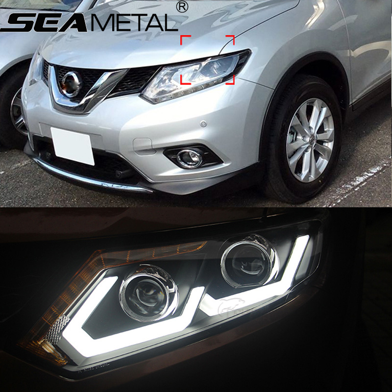 Car Headlight LHD for Nissan X-Trail Rogue 2014 2015 Turn Signal DRL Bi-Xenon Lens Low Beam LED Head Lights Auto Lamp Styling car styling accessories silver roof rack side luggage carrier bars 1set for nissan x trail rogue 2014 2015 2016 2017