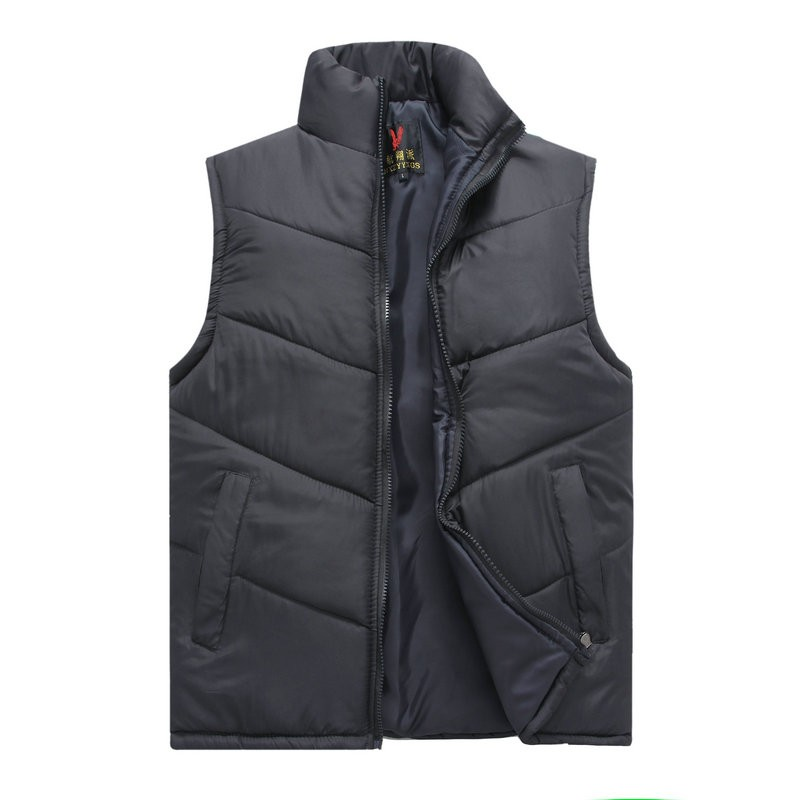 Spring Autumn Stylish Casual Mens Puffer Vest Coats Man Red Dark Blue Gray Black Warm Wadded Sleeveless Jackets Male Stand Collat Waistcoat (1)