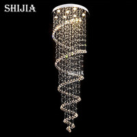 Modern Spiral Crystal Ceiling Light Fixture Long Crystal Stair Lamp Flush Mounted Crystal Light Fitting For