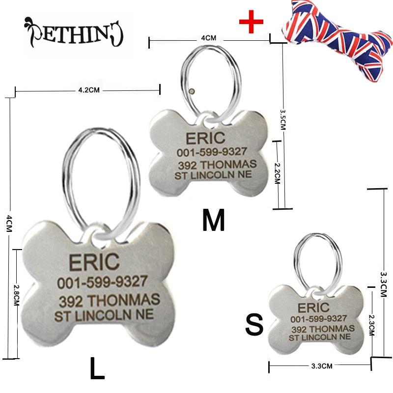୧ʕ ʔ୨Personalizado grabado perro tres etiquetas tamaño libre ...