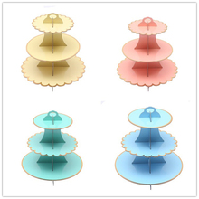 Bronzing cake stand Decorate Birthday Party 3 Tier Cupcake Holder Kids Boys Favors Baby Shower  Cake Stand 1set/pack