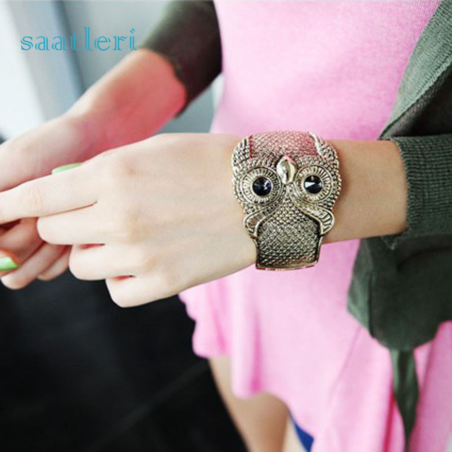 saatleri brand 2017 new fashion Retro Vintage Crystal Large Eye Owl Animal Cuff Wide Bangle Bracelet