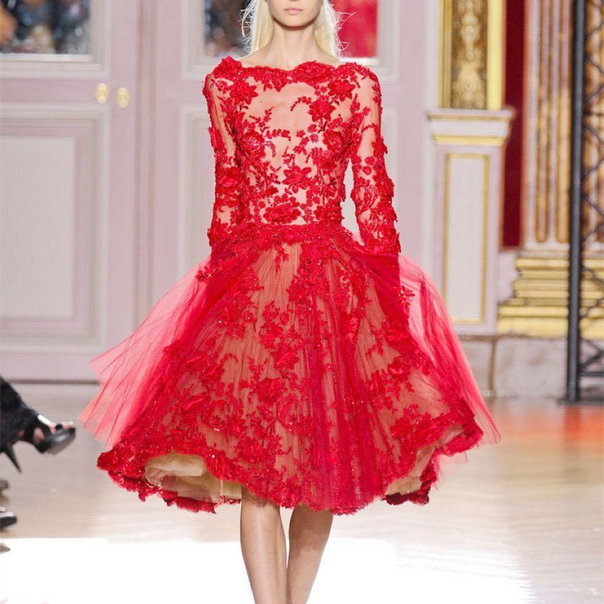 63-+1     2019 Short Evening Dresses Formal Party Gowns Bateau Long Sleeve Red Lace Tulle