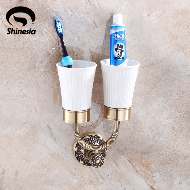 Solid Brass Bathroom Toothbrush Cup Holder with Ceramic Cup Antique Brass new bullet head bobbin holder with ceramic tube tip protecting lines brass copper material