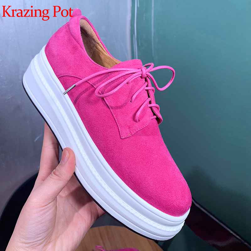 Krazing Pot sheep suede round toe lace up colorful summer sneakers for women model streetwear comfortable