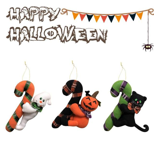 halloween plush cane hanging ornament halloween party shop decor halloween kids toys ghost witch pumpkin doll
