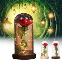 LED Red Silk Rose String Light Desk Lamp Battery Powered Night Lamp Romantic Valentine's Day Birthday Gift Decoration Desk Light