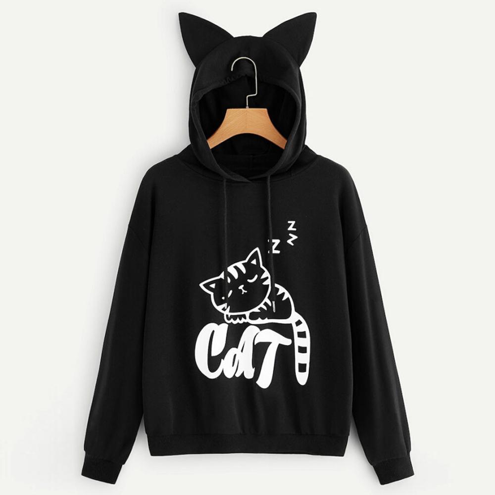 € 9.63 37% de DESCUENTO|2019 nueva Sudadera con capucha mujer Harajuku gato estampado de manga larga Sudadera con capucha mujeres gótico Kpop ropa