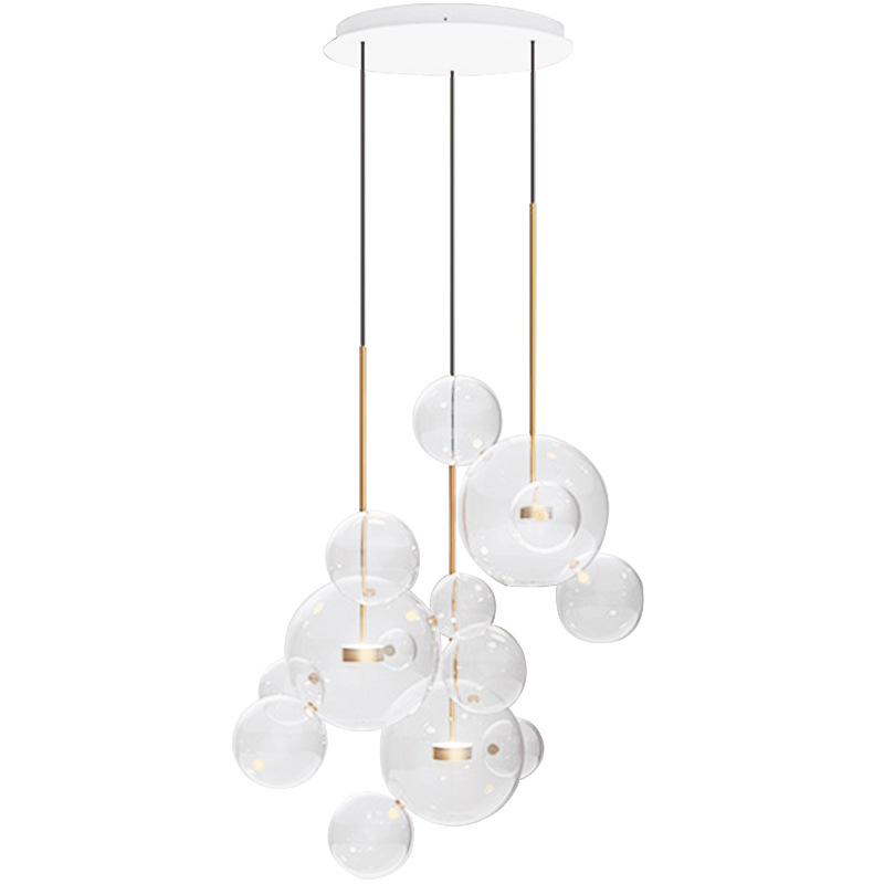 Glass Ball Pendant Light Nordic Designer LED Pendant Lamp Transparent Glass Bubble Lamp Modern Lighting Fixture for Dining Room 25 30 40cm iron clear glass globe ball pendant light fixture modern simple nordic lamp avize luminaria dining table room hallway