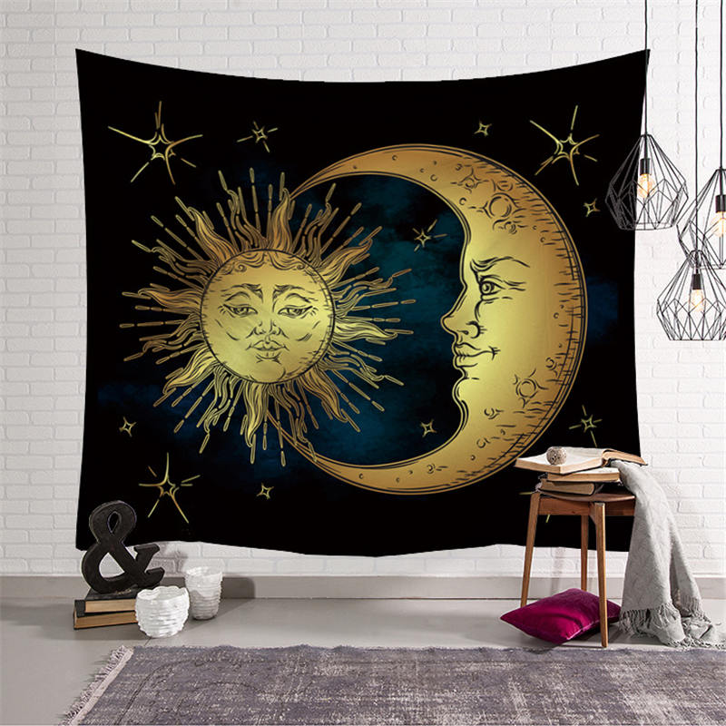 Sun Moon Psychedelic Print Tapestry Wall Hanging Hippie Indian Bohemian Bedspread Tablecloth Beach Towel Yoga Mat Home Decor in Tapestry from Home Garden