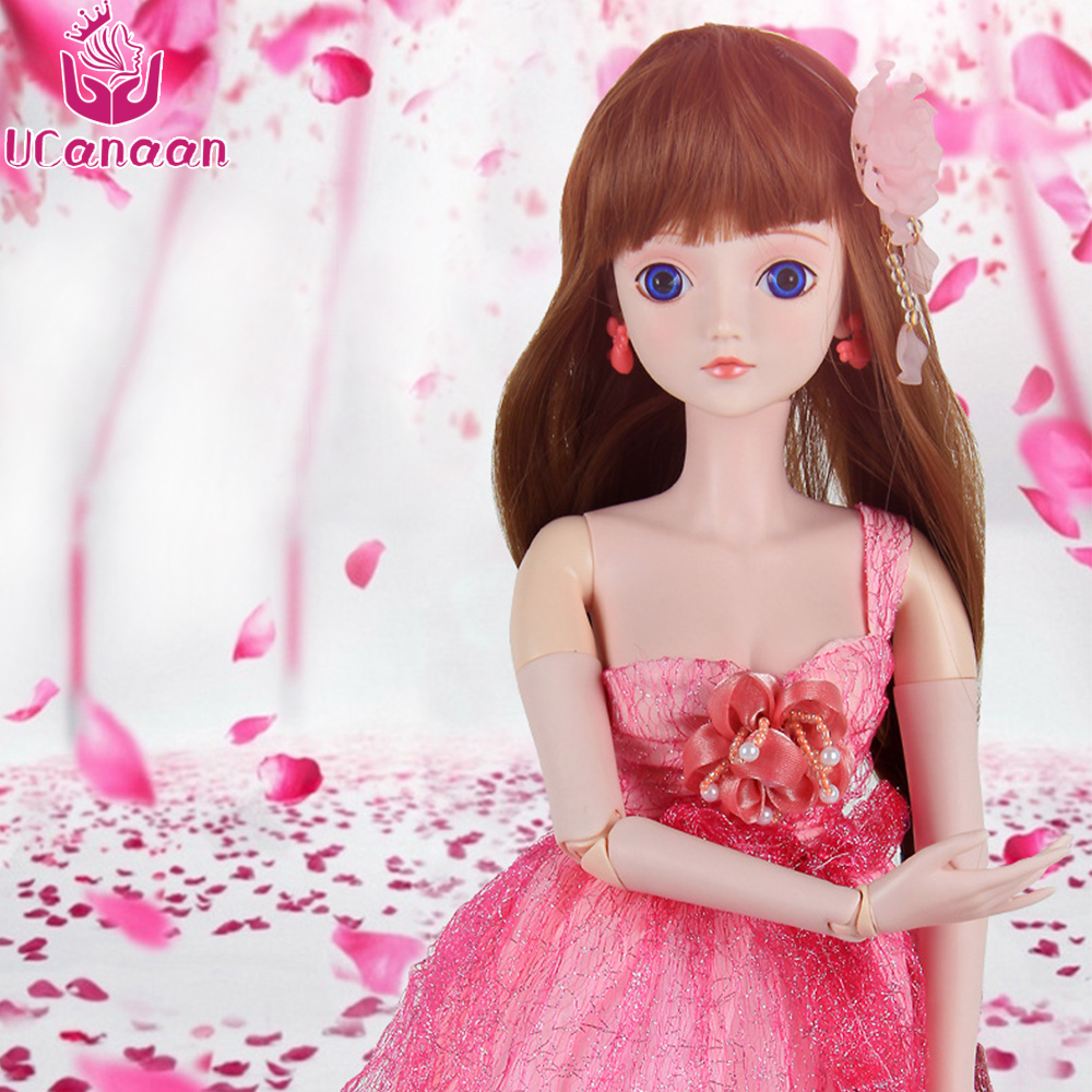 Ucanaan 1/3 Large BJD/SD Doll 60CM 19 Jointed Cute Flower ManLi (Free Eyes+Hair+Makeup+Clothes+Shoes) Dream Girl's Best Gift handsome grey woolen coat belt for bjd 1 3 sd10 sd13 sd17 uncle ssdf sd luts dod dz as doll clothes cmb107
