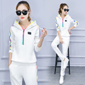 2017 Tracksuit Colorful Stripe Track Suit Female Big Yards Slim Hooded Casual Clothes Suit 2 Piece Set Women Suit Tracksuit Wome