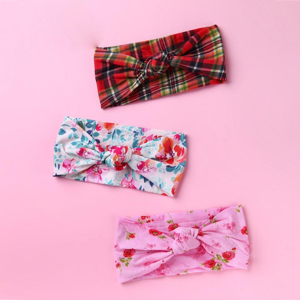 24pc lot Newborn Kids Floral Print Nylon Headbands Spring Color Knotted Hair Bows Nylon Headband Children