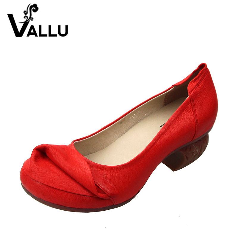 2018 Retro Handmade Women Shoes Pumps Genuine Leather Chunky Heels Round Toe High Heels