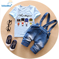 Sale 2017 New Baby Boy Clothes Newborn Baby Summer Fashion Toddler Boys Clothing Set Cartoon Suspender Jeans Pants Suits T547