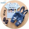 Venta 2017 Nueva Ropa Del Bebé Recién Nacido Bebé Niño Niños Que Arropan el sistema de Dibujos Animados de Moda de Verano Suspender Jeans Pantalones Trajes T547
