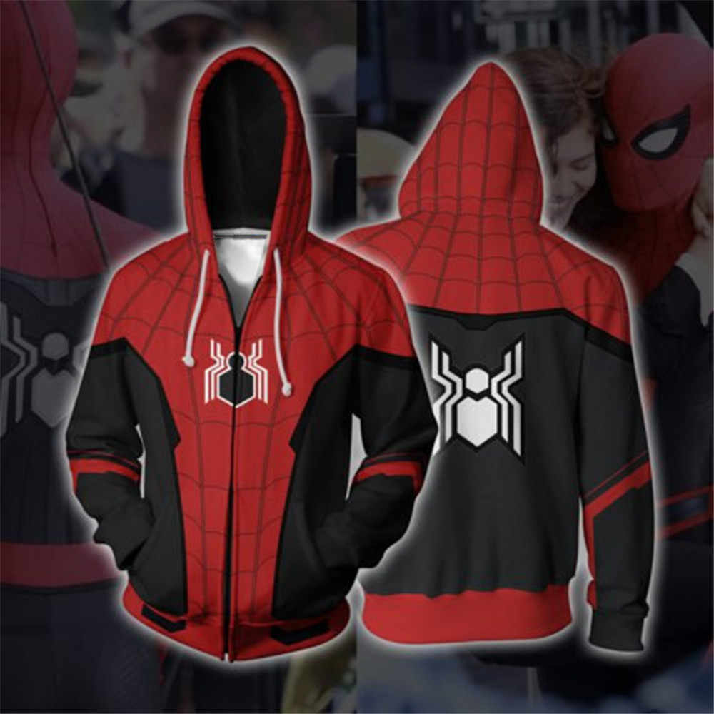 2019 Movie Spider-Man Far From Home Hoodies Spiderman Suits 3D Printed Zipper Jacket Sweatshirts Unisex Pullover Hip hop Coat