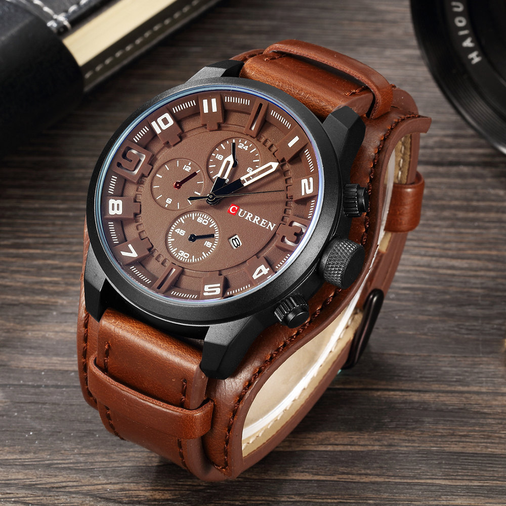 Male Clocks Date Sport Military Clock Leather Strap Quartz 8225