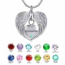 Grandma Angel Wing Birthstone Cremation Urn crystal Necklace Heart Memorial Pendant Stainless Steel Jewelry stainless steel cremation jewelry angel wings pendant memorial urn necklace