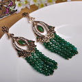 Fashion Turkish Jewelry Tassels Green Earrings For Women Exquisite Craft Delicate Design Max Brincos Vintage Long Earrings Ear
