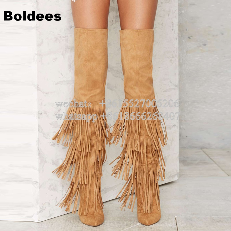 Fashion Slim Fit Winter Over The Knee High Heel Boots Woman Tassel Thigh High Pointed Toe Fringe Boot Thin High Heels