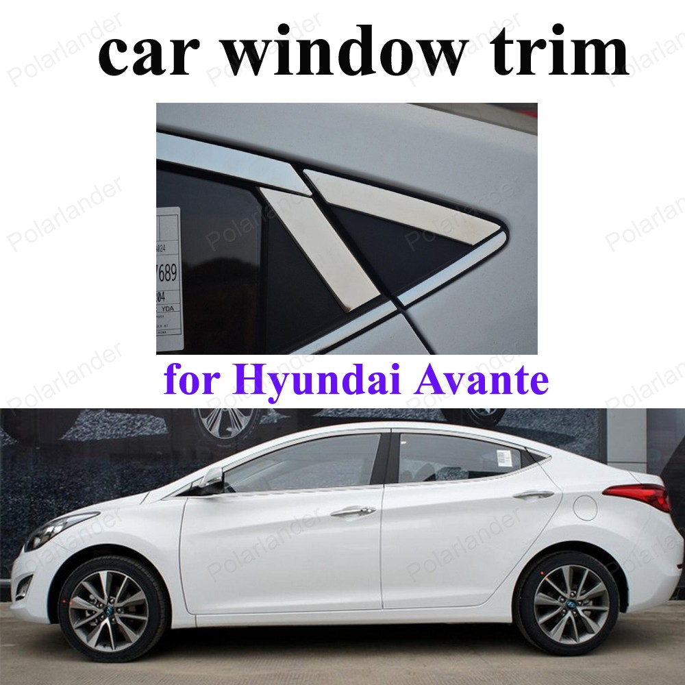 Stainless Steel Car Styling Window Trim Decoration Strips For H-yundai Avante Accessories stainless steel full window with center pillar decoration trim car accessories for hyundai ix35 2013 2014 2015 24