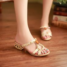 Plus size34-43 shoes Genuine Leather rhinestone Women's Sandals Flip flop High Heels Shoes Lady Pumps Sandals High Heels Shoes