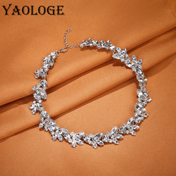 YAOLOGE Unique Metal Necklace Inlaid Rhinestone Exquisite Clavicular Chain Luxury Choker Statement Accessories For Women Jewelry