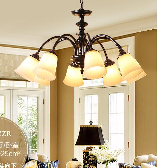 American Vintage Glass Pendant Lamp Cover Iron Living Room Dinning Light YLChina