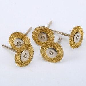 Image 4 - DRELD cepillos de rueda de alambre de latón, 5 uds., 25mm, accesorios Dremel, Mini taladro, pulido para amoladora, herramientas rotativas, vástago de 3,17mm