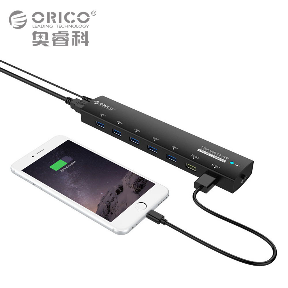 Orico USB 3.0 Hub 5 Gbps 7 puertos súper velocidad Adaptadores de corriente Splitter 2 bc1.2 carga para escritorio Ventanas XP vista Linux
