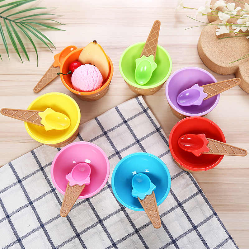 Lovely Ice-cream Shape Bowl Candy Color Mini Bowl Food Grade PP Snack Container Dessert Bowl Creative Dinnerware Spoons 2 sets