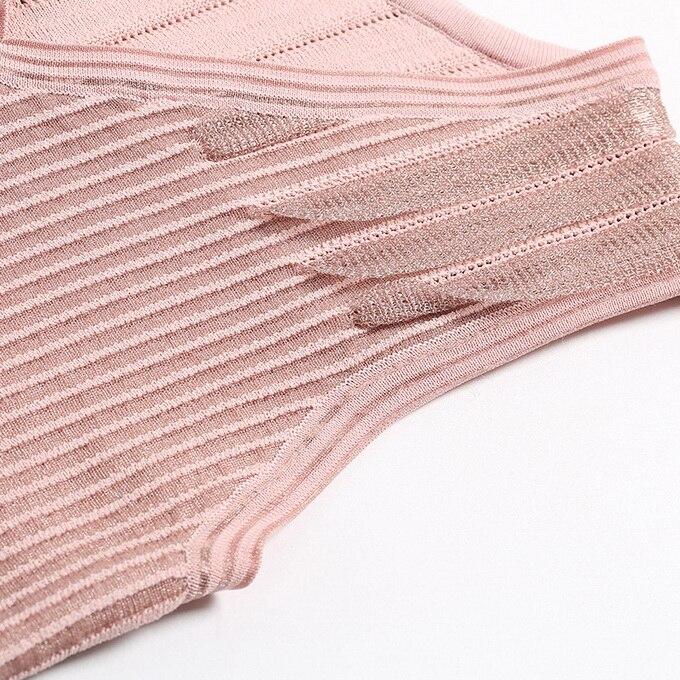 Noir Black Blanc Doux Street High Robe Sans cou ligne Patchwork Nouveau Pull white V A Rose Printemps pink Tricot Femmes Manches 2019 H8aWPxPZn