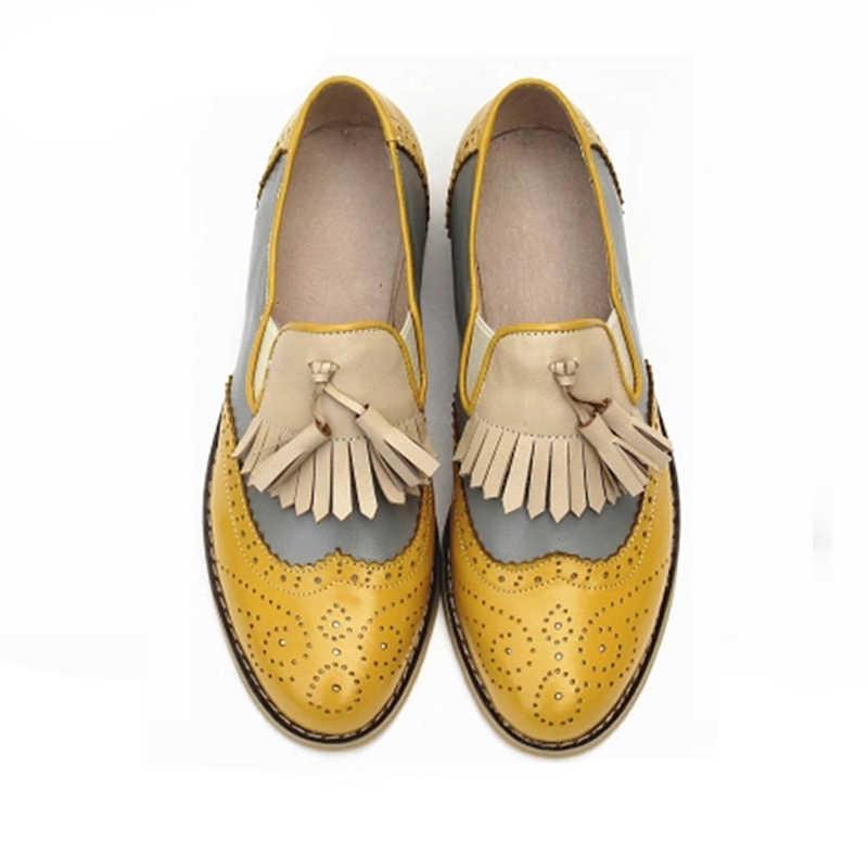 Женские оксфорды с перфорацией типа «броги» из натуральной кожи с кисточками; женские винтажные повседневные туфли ручной работы на плоской подошве в стиле ретро; Цвет серебристый, коричневый