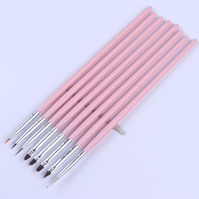 8Pcs/set Pink Nail Art Brush Pen UV Gel Brushes Dotting Pen Painting Drawing Brush Kit Manicure Tool Liner Tools Kit #702
