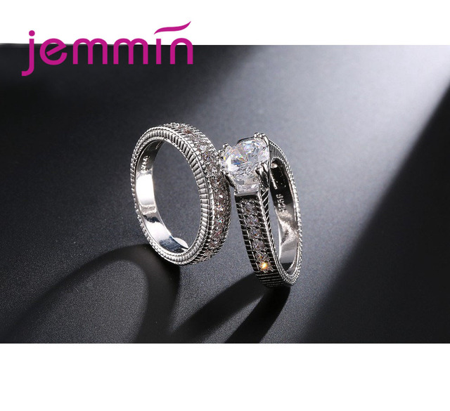 2pcs/lot Female Crystal White Round Ring Set Luxury 925 Silver Engagement Ring For Women Ladies Lover Party Wedding 3