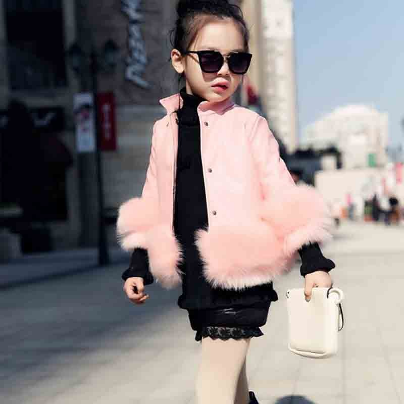 Luxury Children Baby Little Girls PU Leather Jacket Coat with Faux Fur Sleeve Autumn Kids Clothes for Teenage Girls Outwear Pink