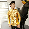 2016 New Shiny Singer Stage Costumes Gold Silver Black Dress Shirt Coated Metallic Night Club Shirt For Cool Men