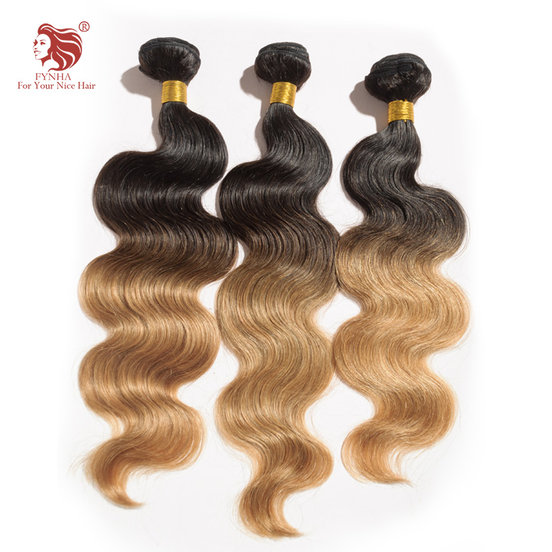 ФОТО 5pcs/lot body wave ombre hair extensions 1B/27# grade 6a 100% remy malaysian human hair weaves 16''-24''DHL free shipping