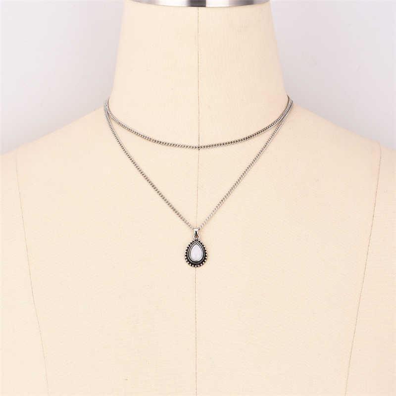 Sunmall biały kolor dziewczyna naszyjnik łańcuch dla kobiety dorywczo długie metalowe ręcznie pani Sexy linka z drutu naszyjnik dobrej Quanlity