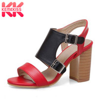 KemeKiss Size 32 50 Women Sandals 2019 Mixed Colors Buckle Thick Heels Party High Heel Summer Shoes Women High Quality Shoes