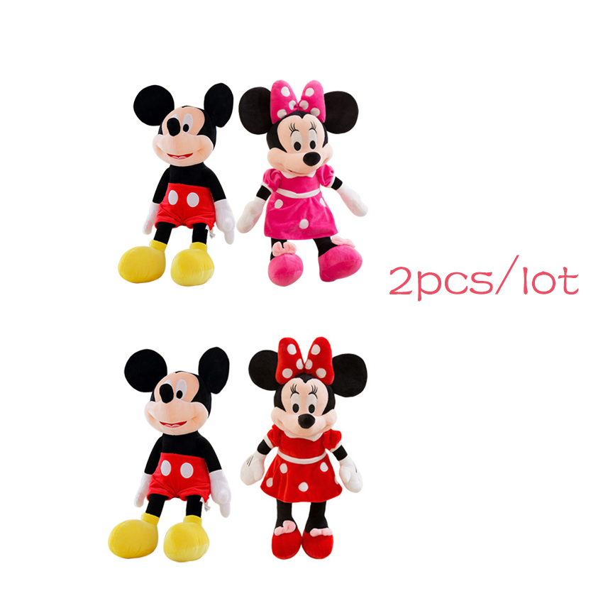 2pc/lot 40cm High Quality Mickey And Minnie Mouse Plush Toy Doll Stuffed Animal Cartoon Toys For Kids Classic Birthday Gift