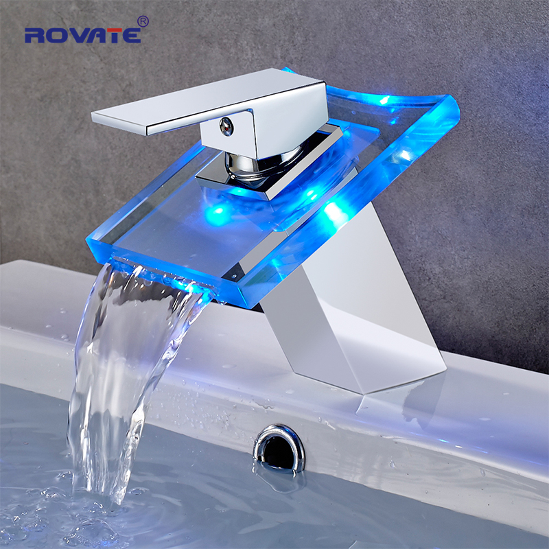 ROVATE LED Lights Basin Faucet 3 Colors Change Waterfall Glass Spout Mixer Sink Tap ,Vessel Lavatory Faucet Brass ChromeROVATE LED Lights Basin Faucet 3 Colors Change Waterfall Glass Spout Mixer Sink Tap ,Vessel Lavatory Faucet Brass Chrome