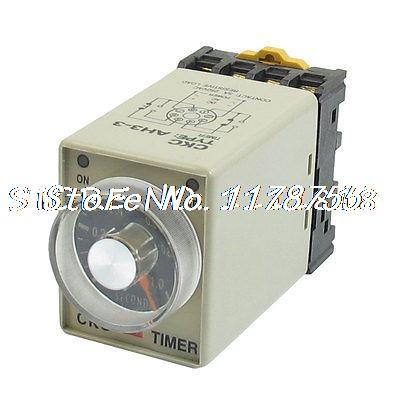 DC 12V 0-1 Seconds 1s Electric Delay Timer Timing Relay DPDT 8P w Base knob control ac110v 8p dpdt 5s seconds timer time delay relay w socket