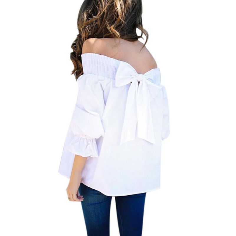 HTB1Y0o0Kf1TBuNjy0Fjq6yjyXXai - Sexy Off Shoulder Bowknot Blouse Spring Summer Strapless Women Tops Slash Neck Shirts Casual Loose Blusas Plus Size