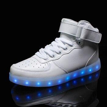 Fashion 7 Colors LED Luminous Shoes Unisex Casual Shoes USB Charging Light Shoes Colorful Glowing Big Size Flat Shoes 1-1-3