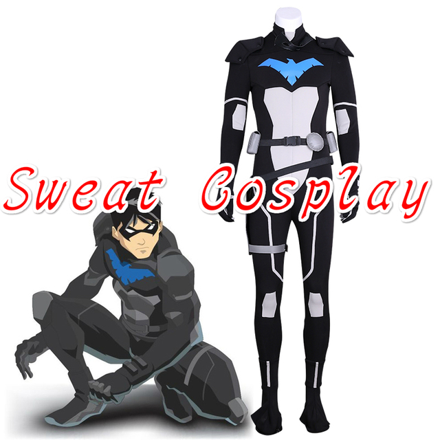 2a8ddf2849a3 High Quality Young Justice S2 Nightwing Cosplay Costume Jumpsuit Outfit  Uniform Full Set Halloween Cosplay Costume for adult men